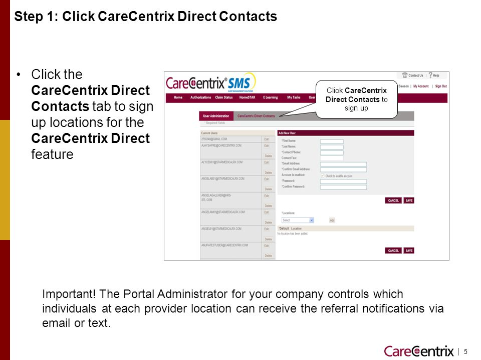 Step 1: Click CareCentrix Direct Contacts