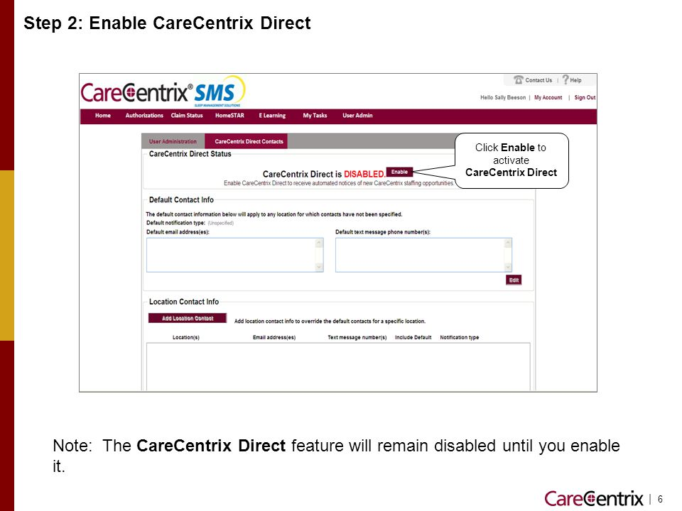 Step 2: Enable CareCentrix Direct