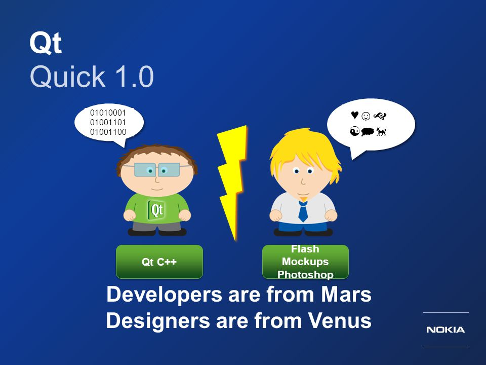 Qt Quick 1.0 Developers are from Mars Designers are from Venus ♥☺ 
