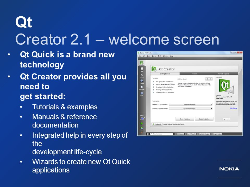 Creator 2.1 – welcome screen