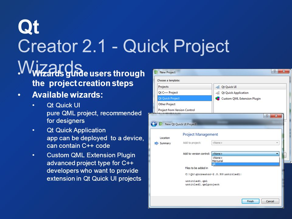 Qt Creator 2.1 - Quick Project Wizards