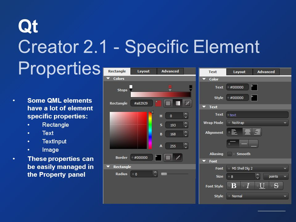 Creator 2.1 - Specific Element Properties