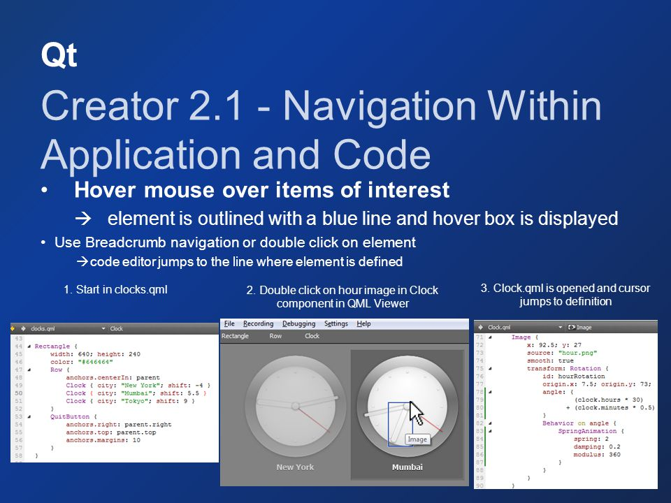 Creator 2.1 - Navigation Within Application and Code