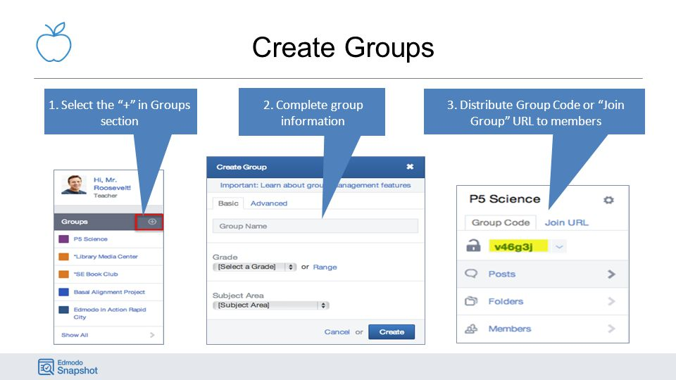 Create Groups 1. Select the + in Groups section