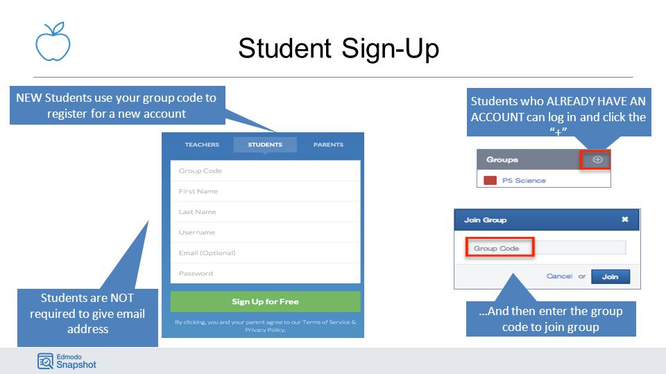 Student Sign-Up NEW Students use your group code to register for a new account. Students who ALREADY HAVE AN ACCOUNT can log in and click the +