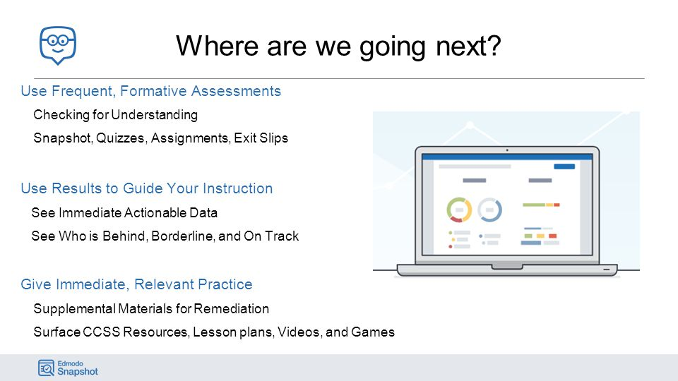 Where are we going next Use Frequent, Formative Assessments. Checking for Understanding. Snapshot, Quizzes, Assignments, Exit Slips.