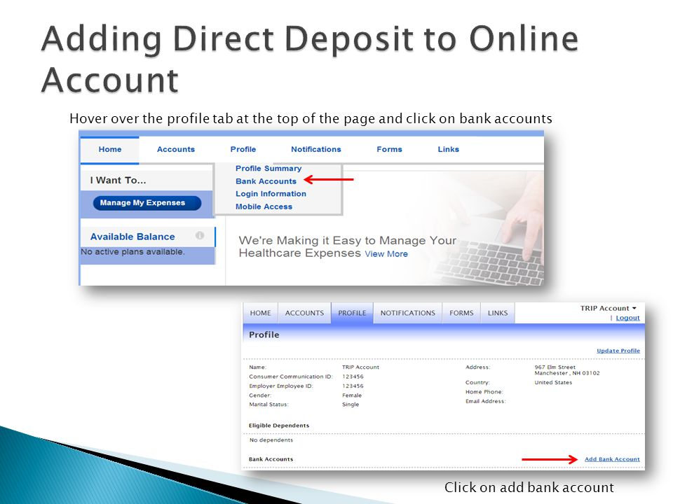 Adding Direct Deposit to Online Account