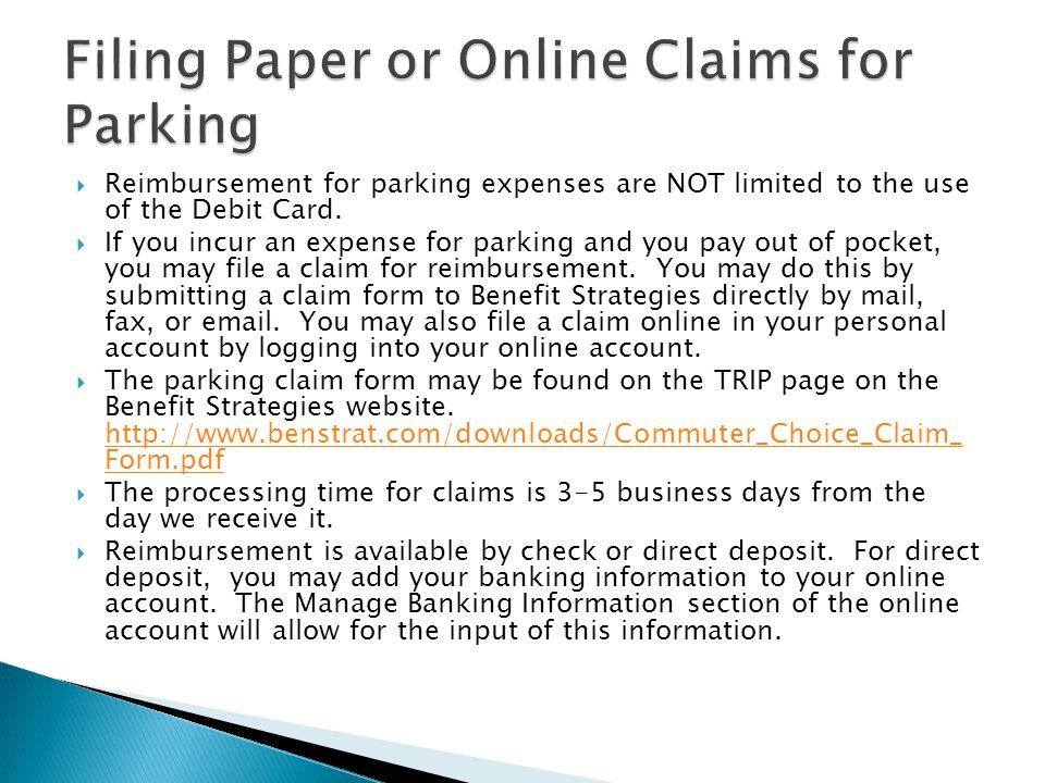 Filing Paper or Online Claims for Parking