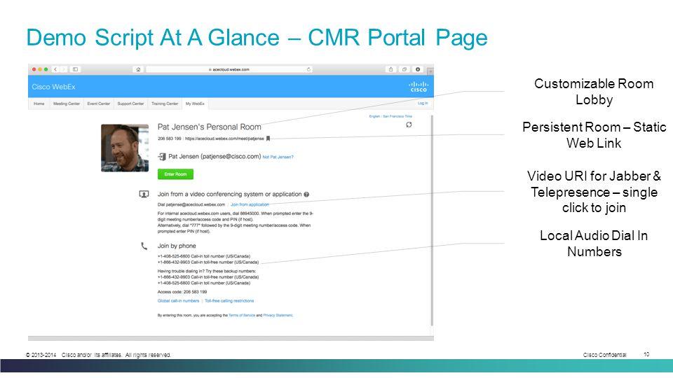 Demo Script At A Glance – CMR Portal Page
