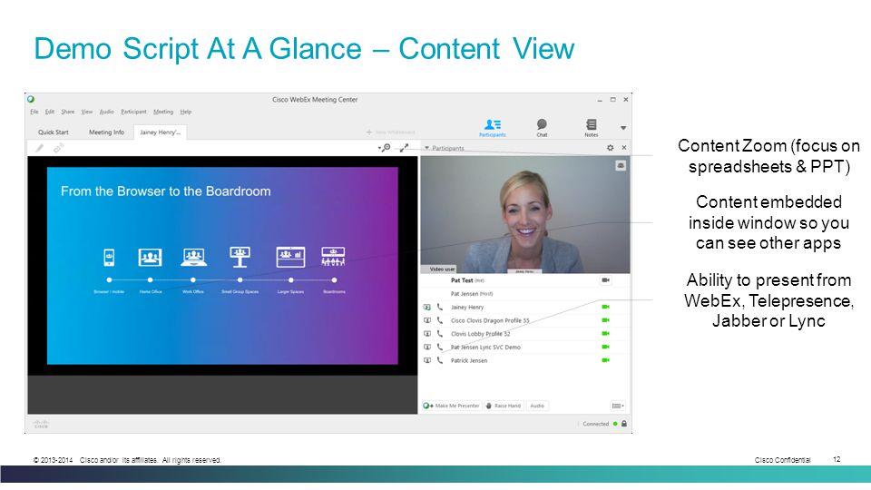 Demo Script At A Glance – Content View