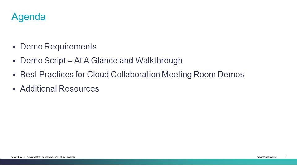 Agenda Demo Requirements Demo Script – At A Glance and Walkthrough