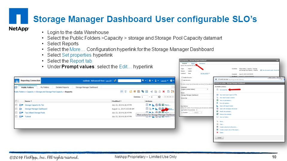 Storage Manager Dashboard User configurable SLO's