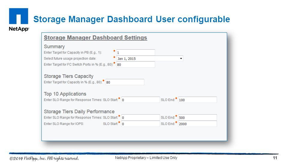 Storage Manager Dashboard User configurable