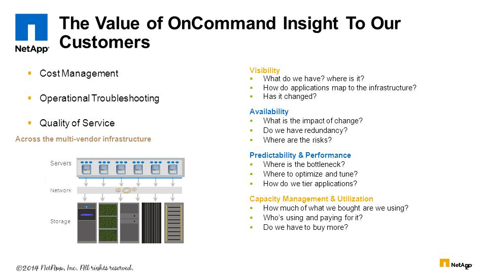 The Value of OnCommand Insight To Our Customers