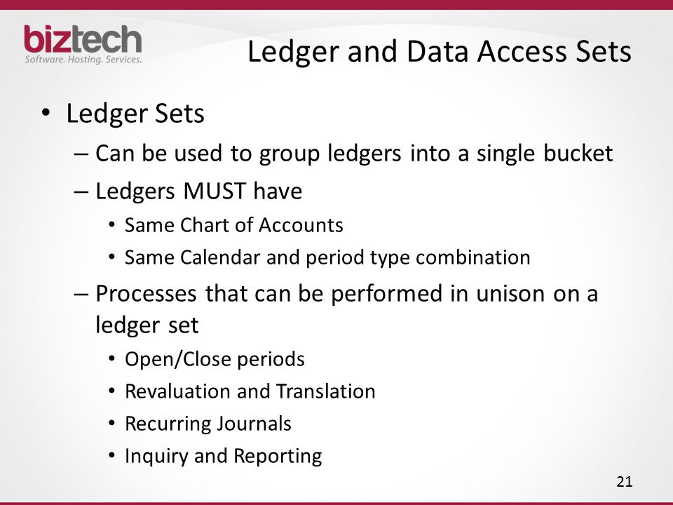 Ledger and Data Access Sets