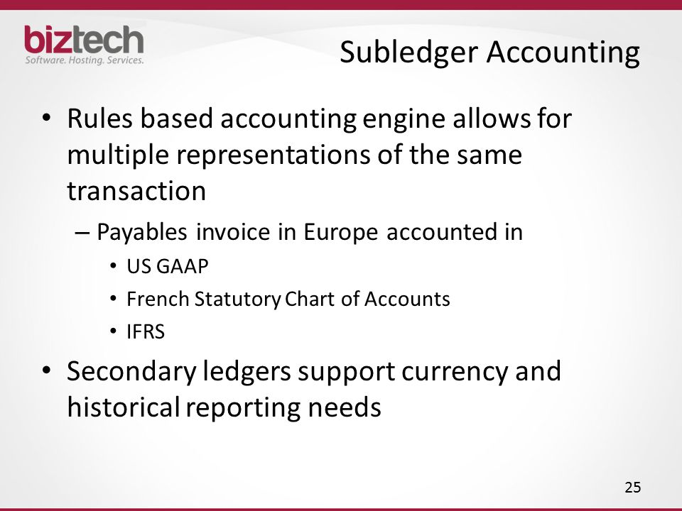 Subledger Accounting Rules based accounting engine allows for multiple representations of the same transaction.