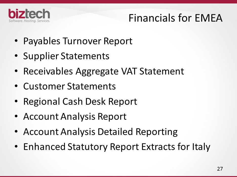 Financials for EMEA Payables Turnover Report Supplier Statements