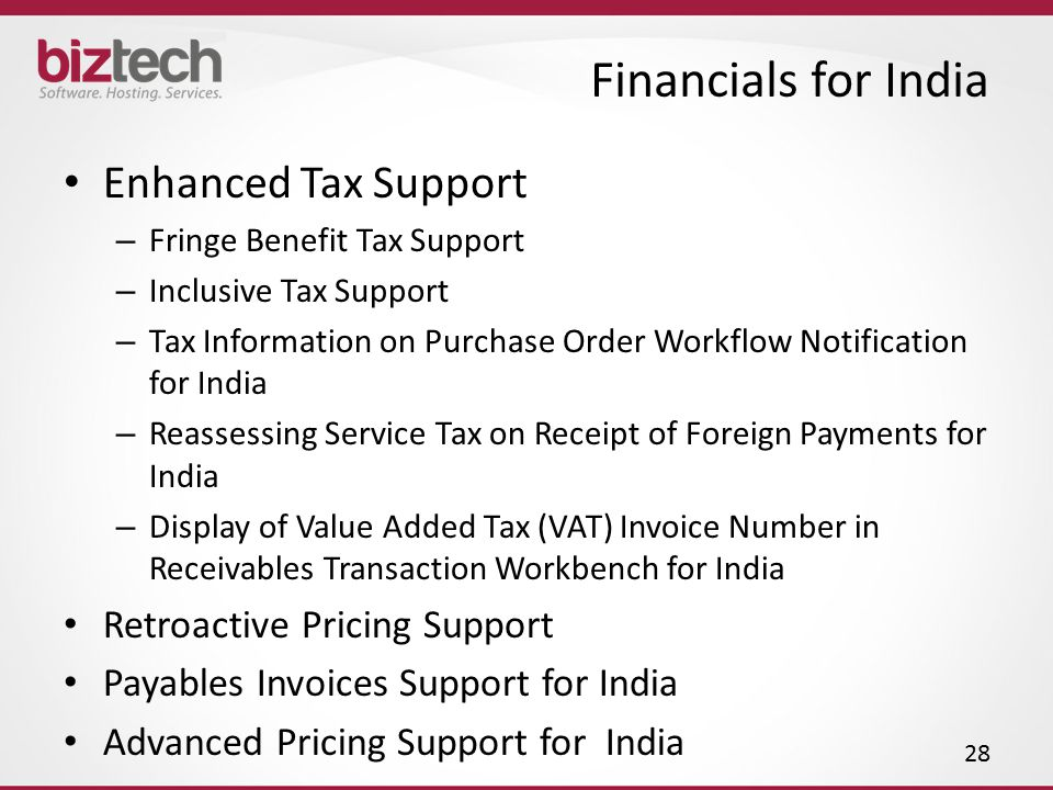 Financials for India Enhanced Tax Support Retroactive Pricing Support