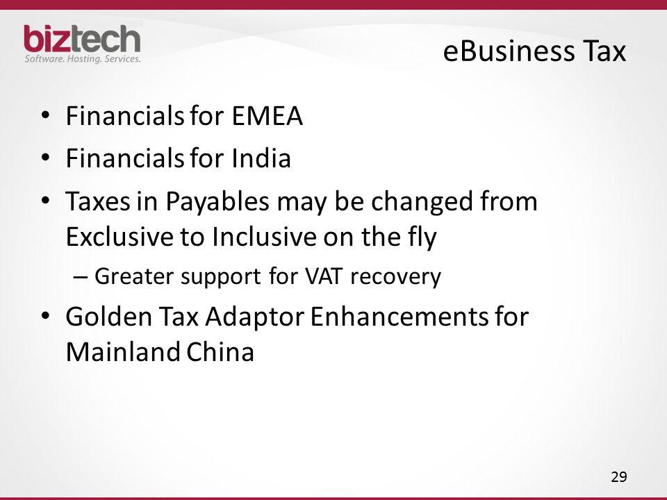 eBusiness Tax Financials for EMEA Financials for India