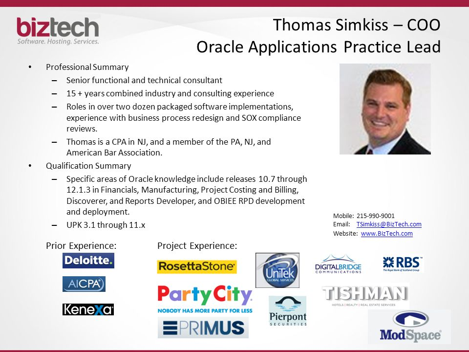 Thomas Simkiss – COO Oracle Applications Practice Lead