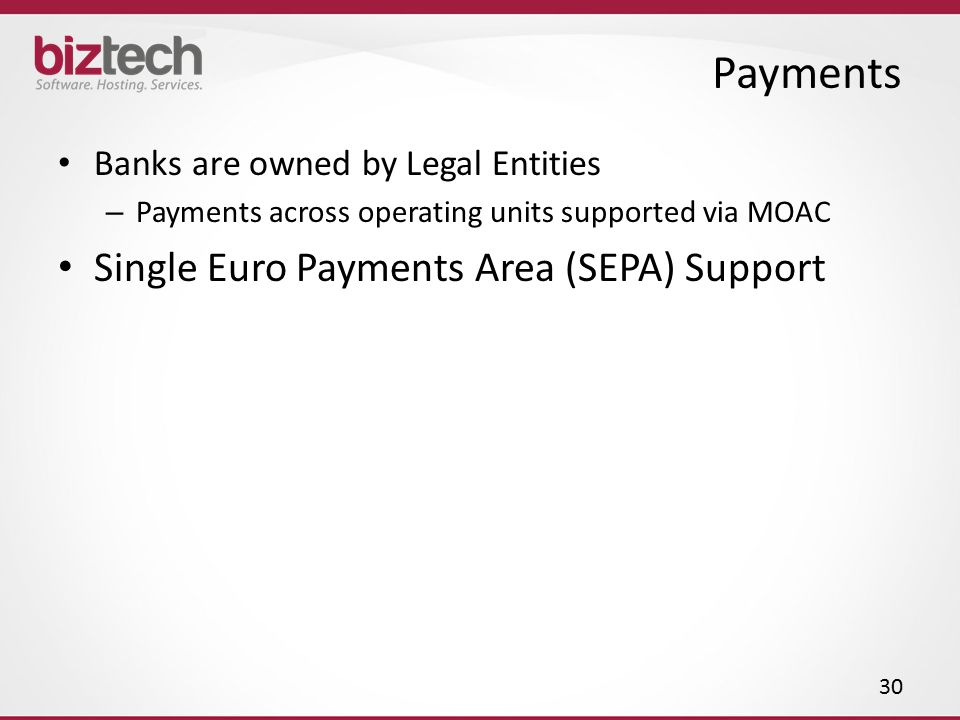 Payments Single Euro Payments Area (SEPA) Support