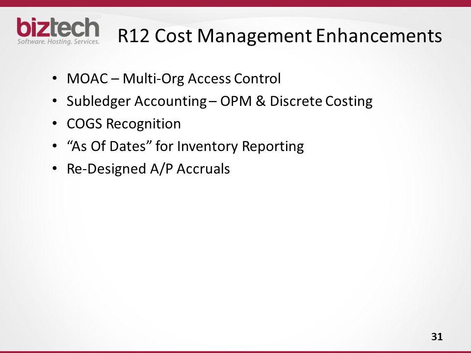 R12 Cost Management Enhancements