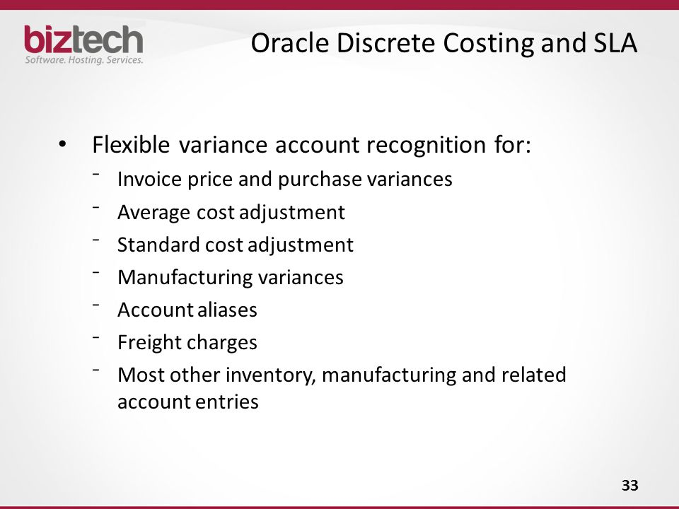 Oracle Discrete Costing and SLA