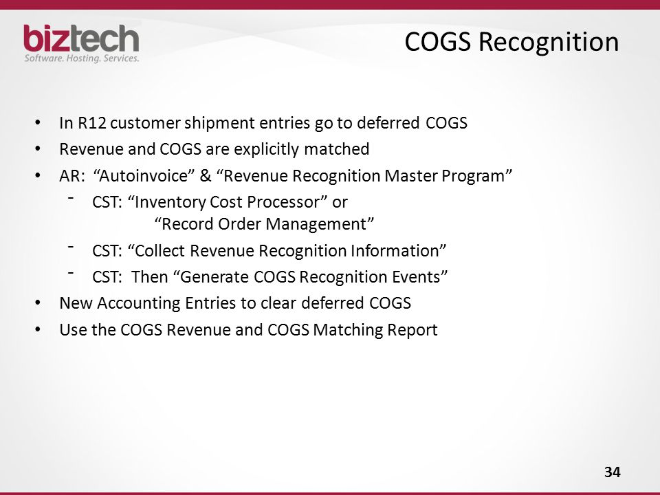 COGS Recognition In R12 customer shipment entries go to deferred COGS