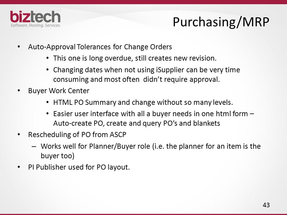 Purchasing/MRP Auto-Approval Tolerances for Change Orders