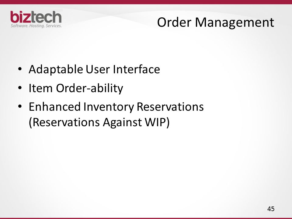 Order Management Adaptable User Interface Item Order-ability