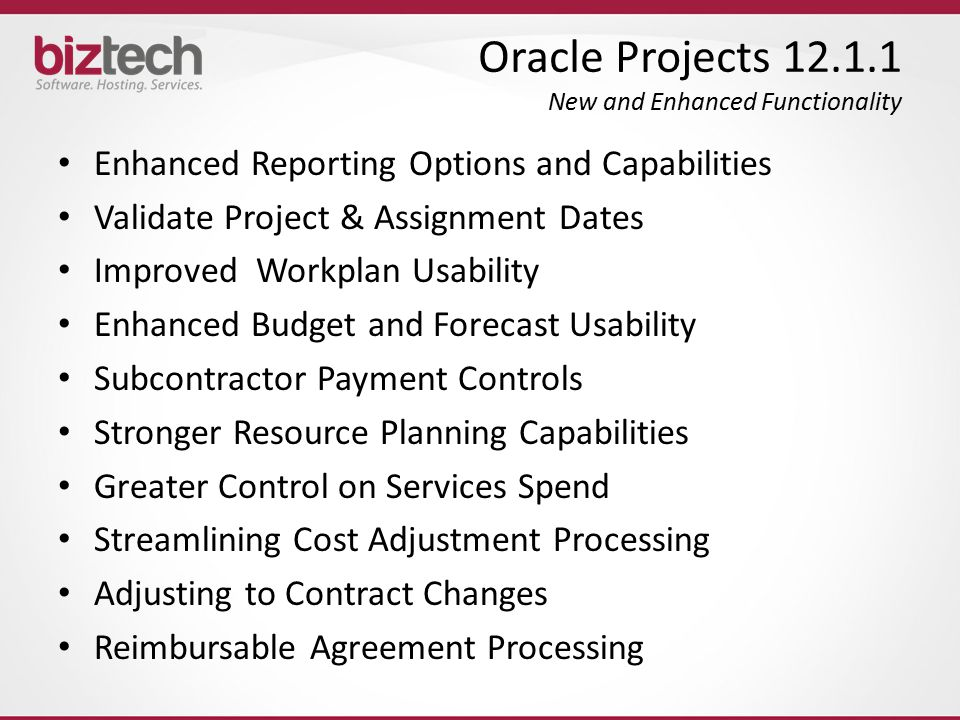 Oracle Projects 12.1.1 New and Enhanced Functionality