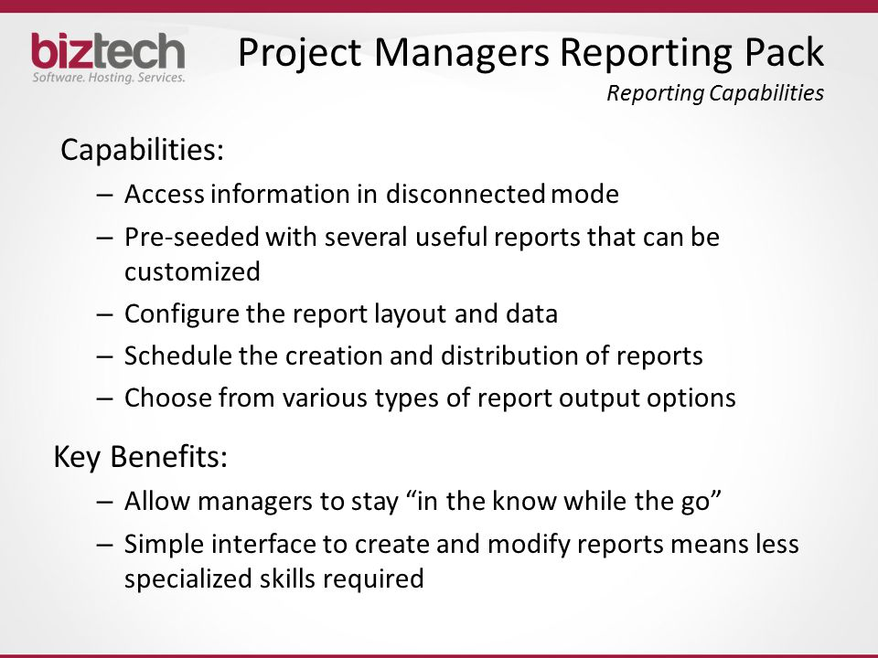 Project Managers Reporting Pack Reporting Capabilities