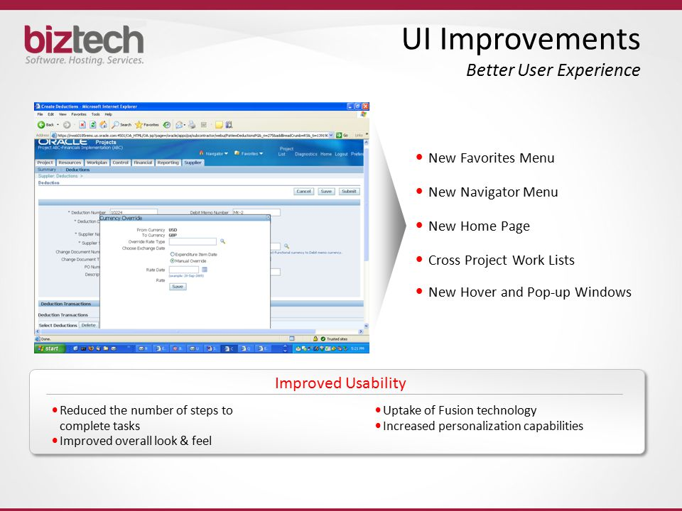 UI Improvements Better User Experience
