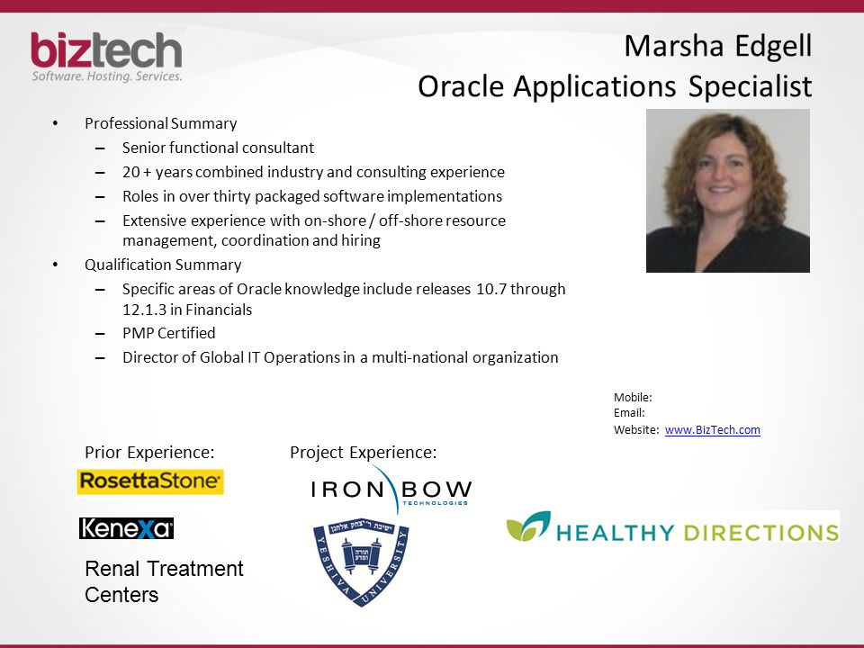 Marsha Edgell Oracle Applications Specialist