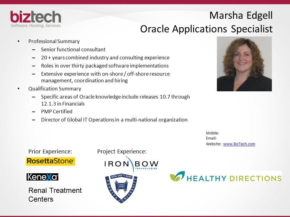 Marsha Edgell Oracle Applications Specialist