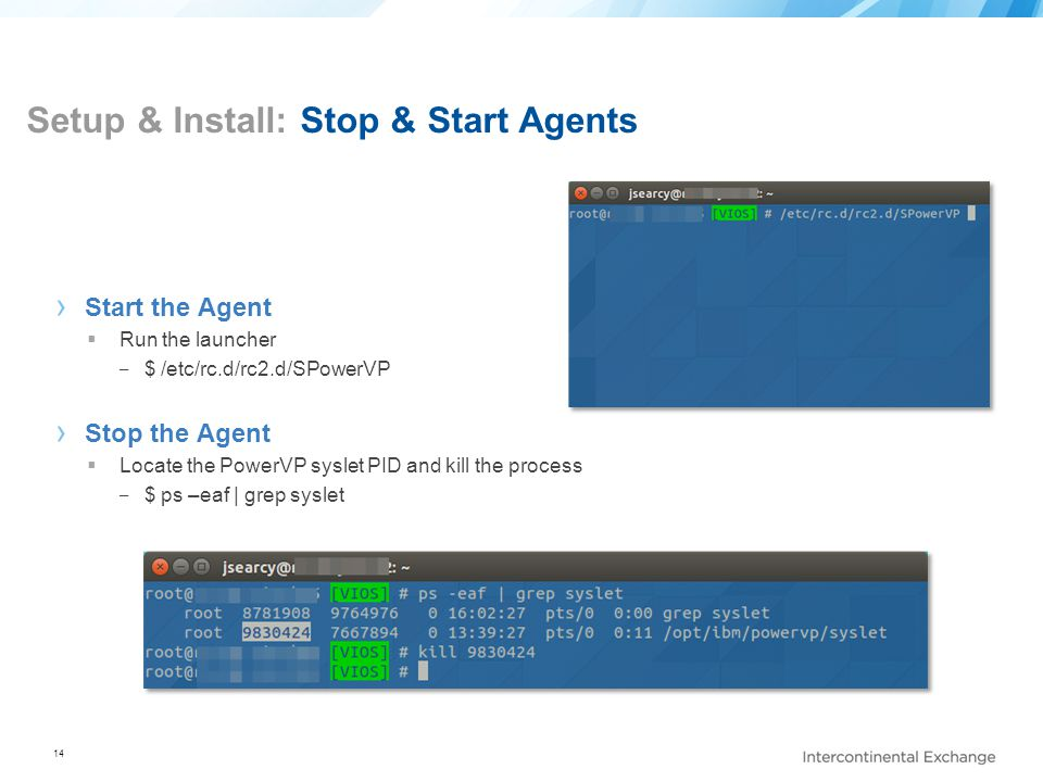 Setup & Install: Stop & Start Agents