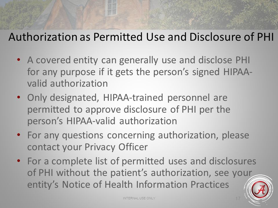 Authorization as Permitted Use and Disclosure of PHI
