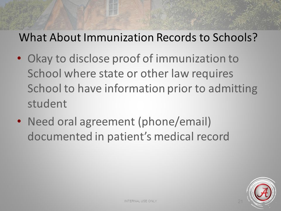 What About Immunization Records to Schools