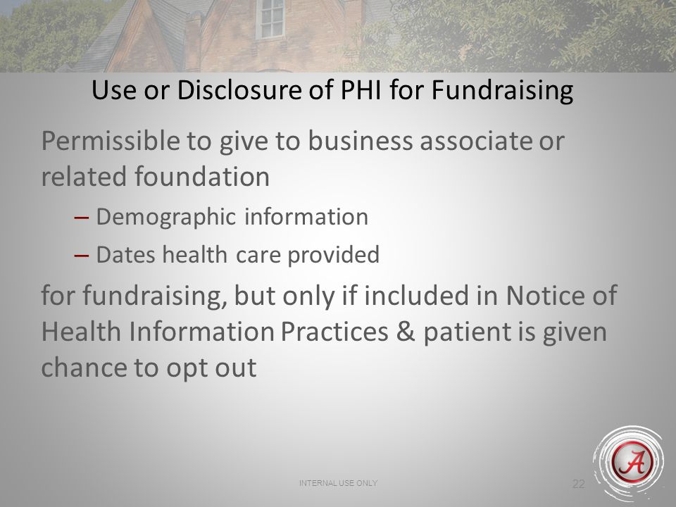 Use or Disclosure of PHI for Fundraising