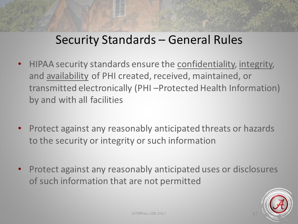 Security Standards – General Rules