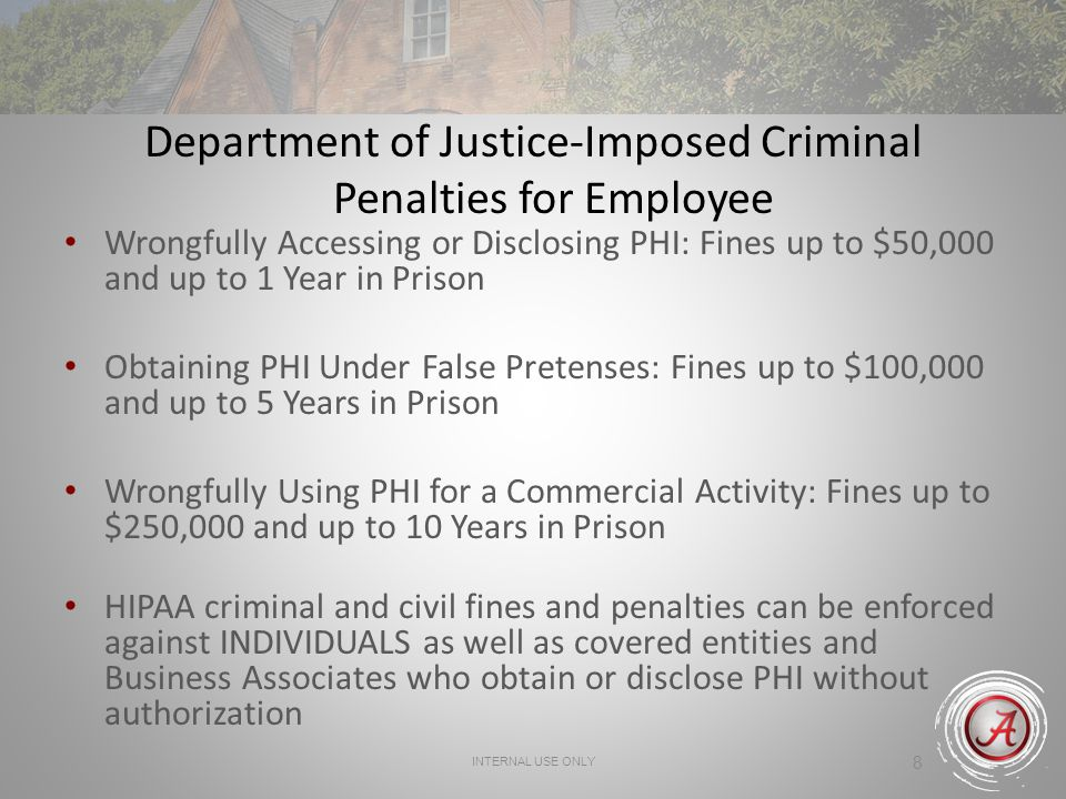 Department of Justice-Imposed Criminal Penalties for Employee