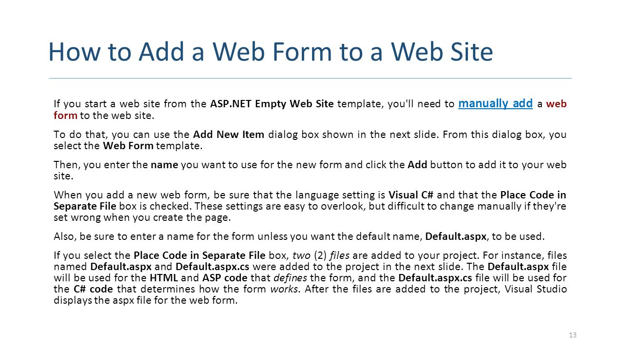 How to Add a Web Form to a Web Site