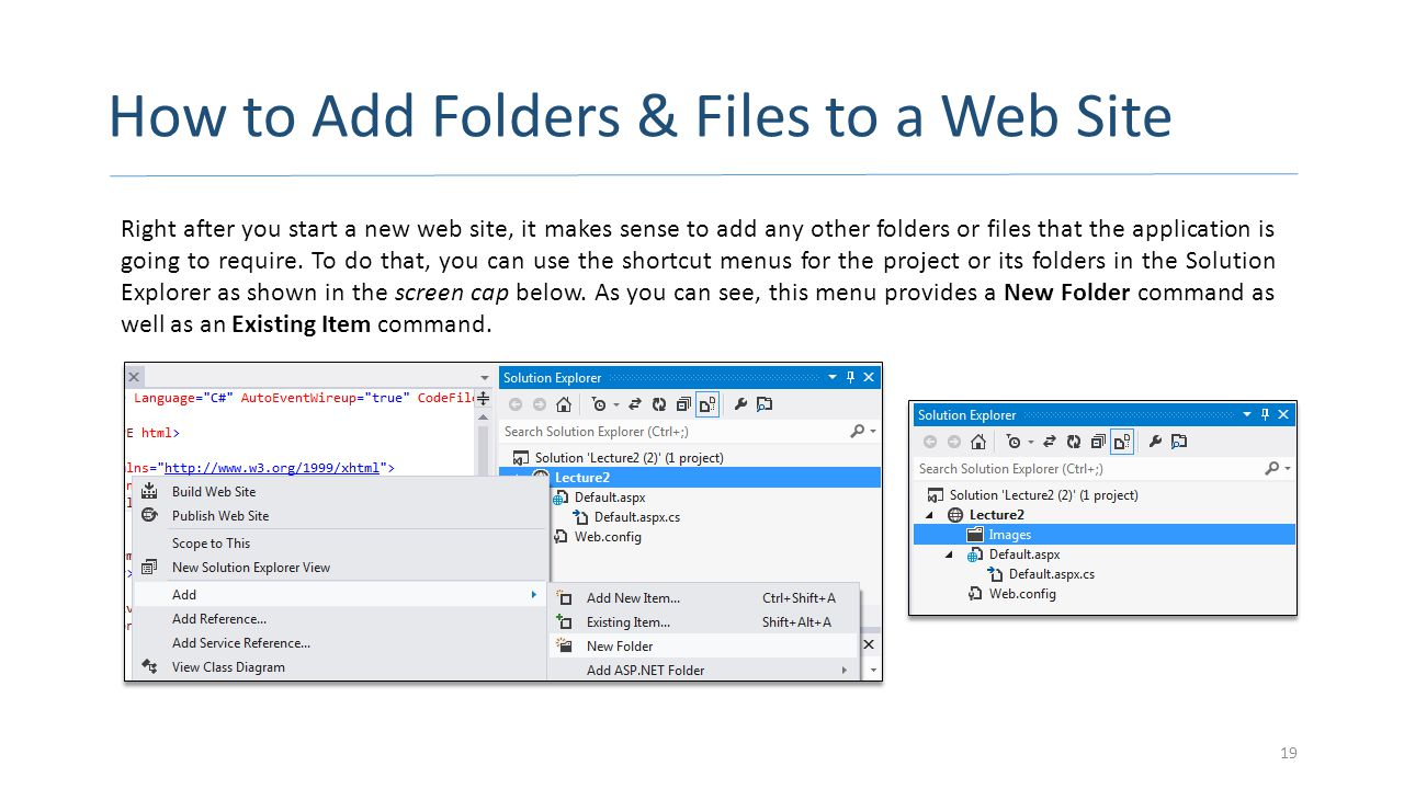How to Add Folders & Files to a Web Site