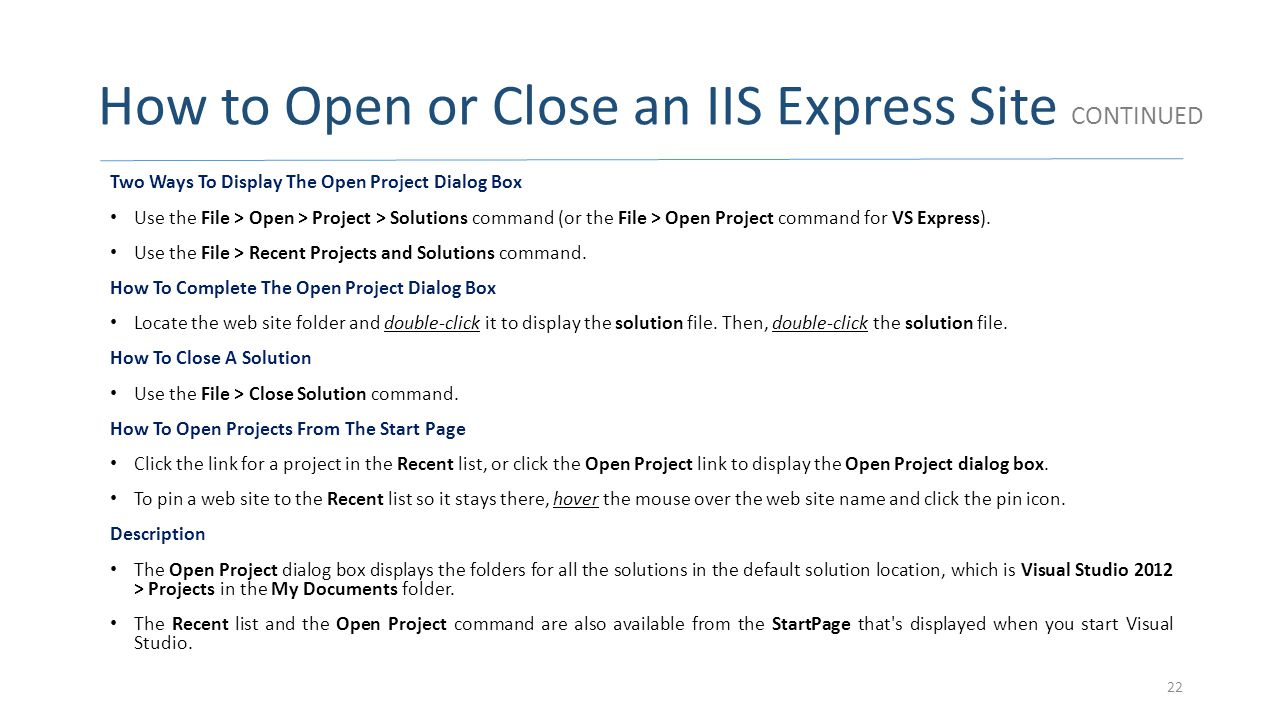 How to Open or Close an IIS Express Site CONTINUED