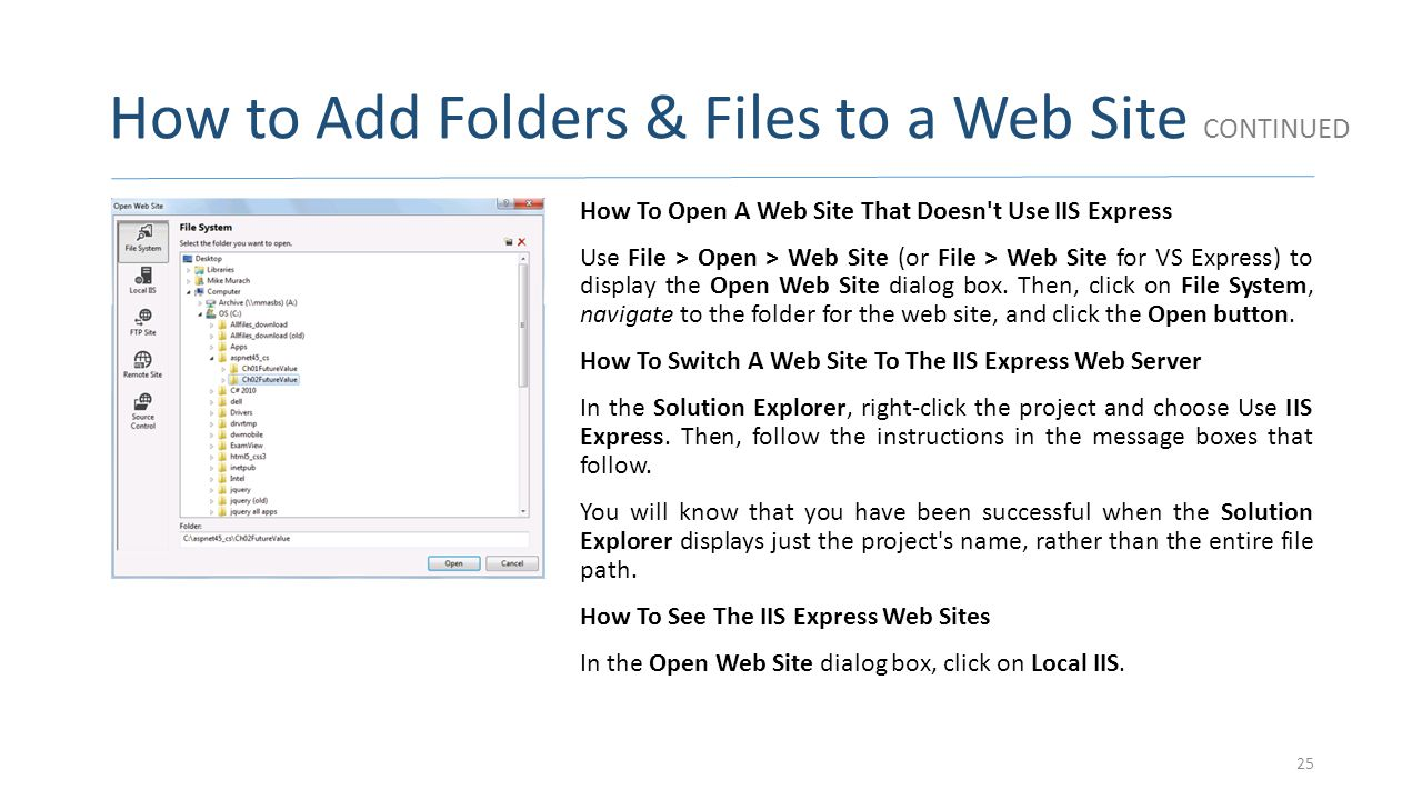 How to Add Folders & Files to a Web Site CONTINUED
