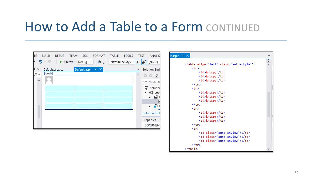 How to Add a Table to a Form CONTINUED