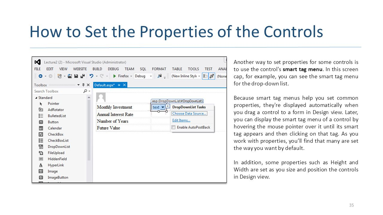 How to Set the Properties of the Controls