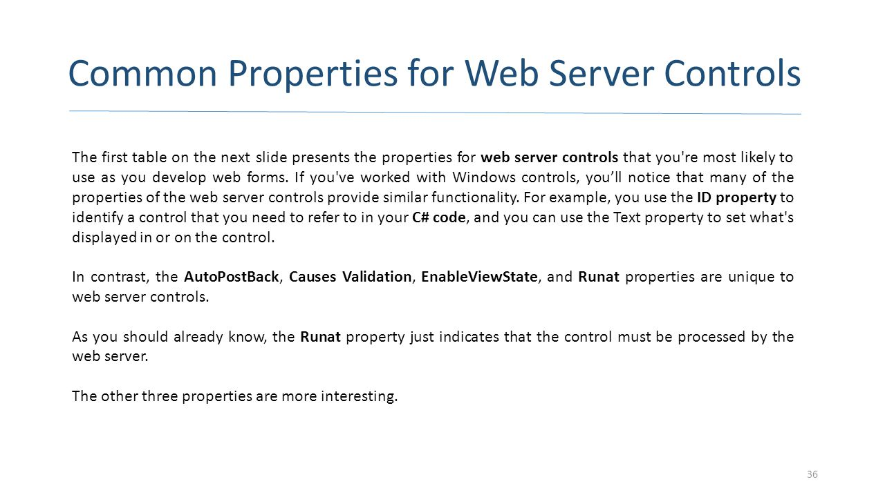 Common Properties for Web Server Controls