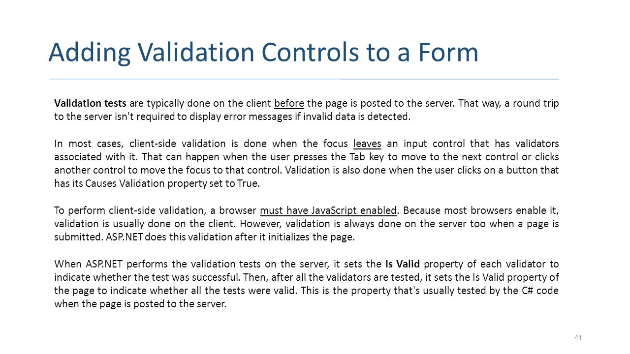 Adding Validation Controls to a Form