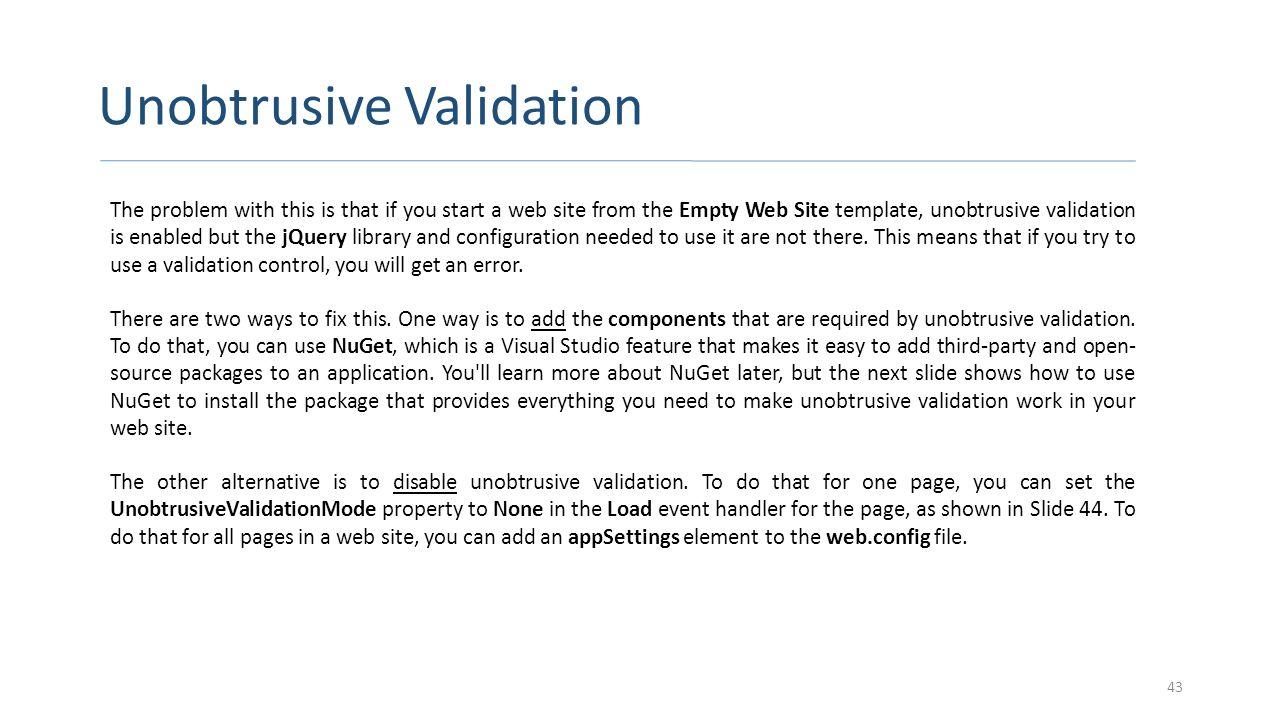 Unobtrusive Validation